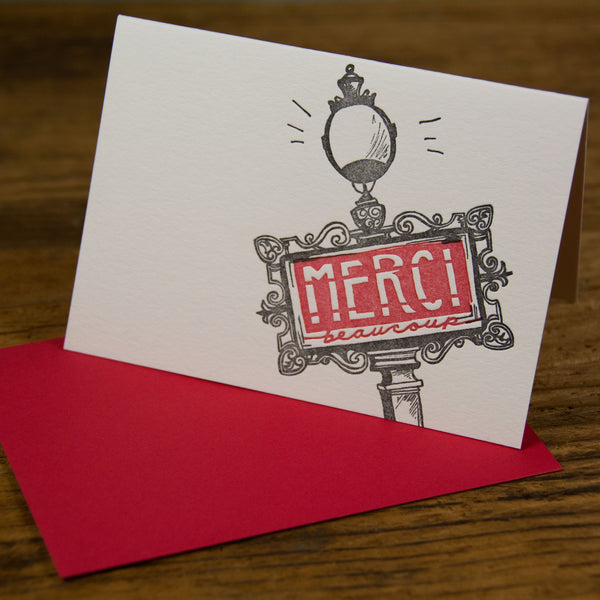 Merci Beaucoup card, Art Nouveau Metro sign inspired letterpress printed