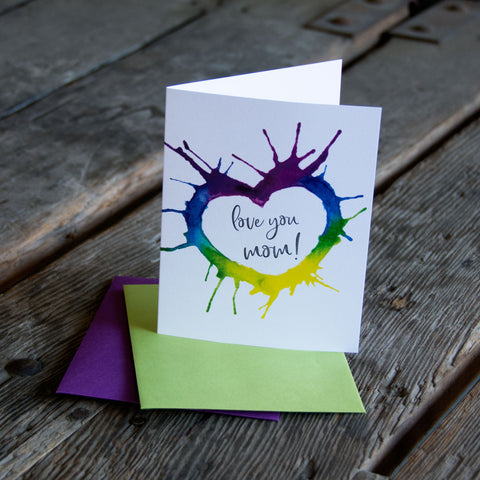 Love you mom, watercolor heart Mother's Day, letterpress printed card. Eco friendly