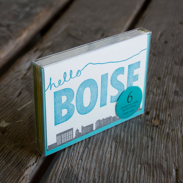 Hello Boise skyline, letterpress printed, eco-friendly