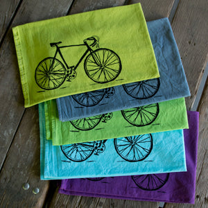 Hand dyed Bike Screen Printed Tea Towel, flour sack towel
