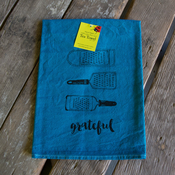 Hand dyed Grateful Screen Printed tea towel, flour sack dish towel