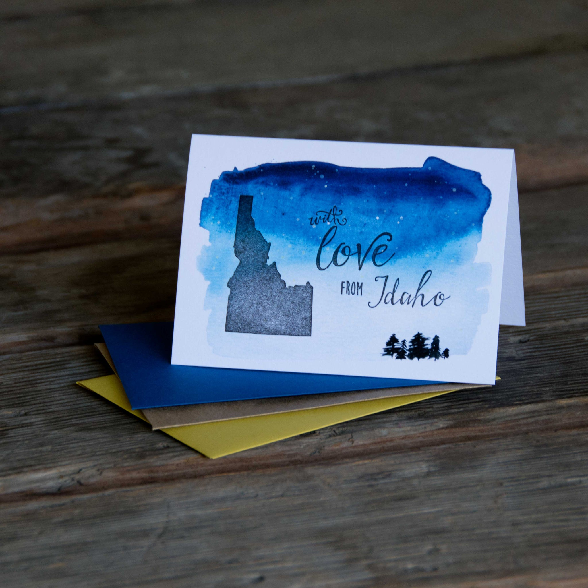 With love from Idaho Starry Night edition card, letterpress printed eco friendly