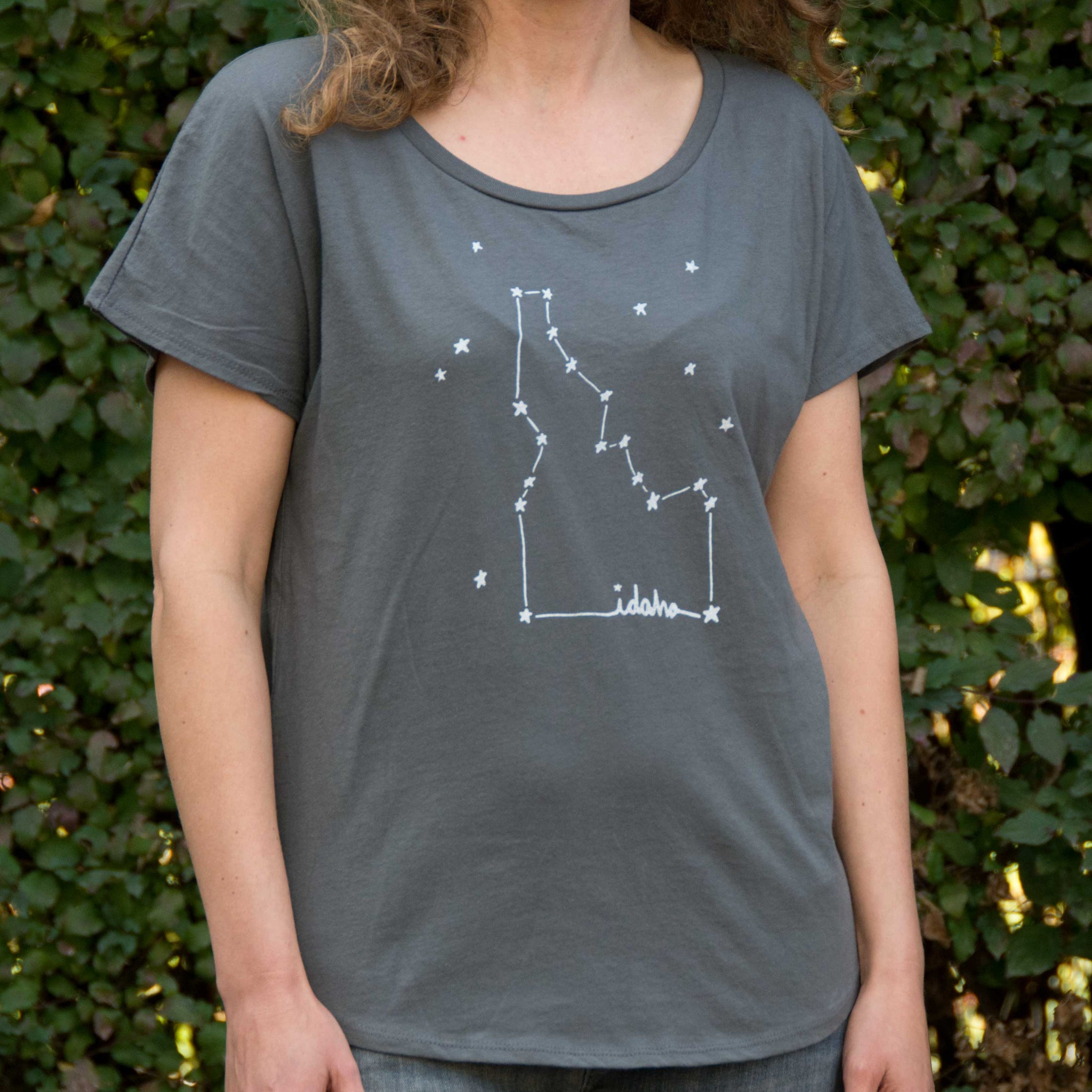 Women's Idaho Constellation T-shirt, screen printed with eco-friendly waterbased inks, adult sizes