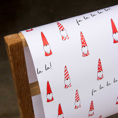 Gnome fa la la la Wrapping paper, 20x29 inches