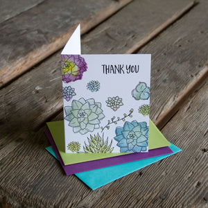 Thank you succulent card, letterpress printed card. Eco friendly