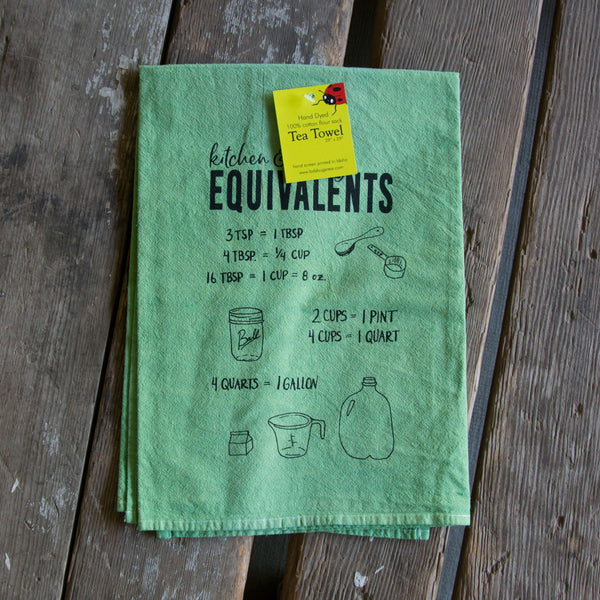 Dyed Baking Equivalents Screen Printed Tea Towel, flour sack towel