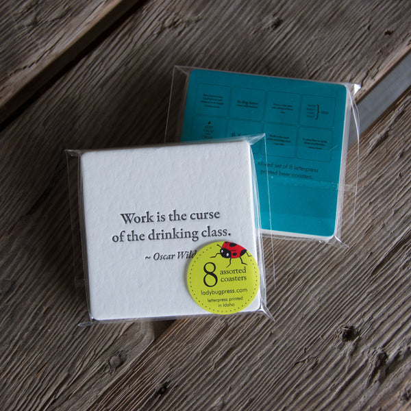 BEER Quote Coasters, mixed set of 8, perfect gift for home brewer or beer lover