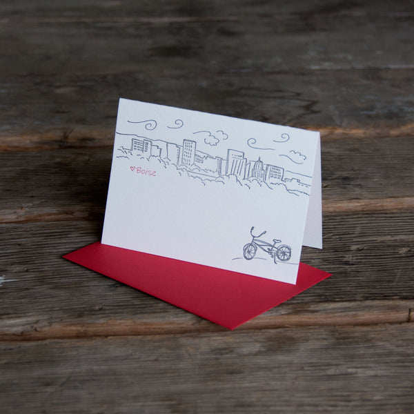Boise Bike Skyline card, Heart BOISE letterpress printed eco friendly
