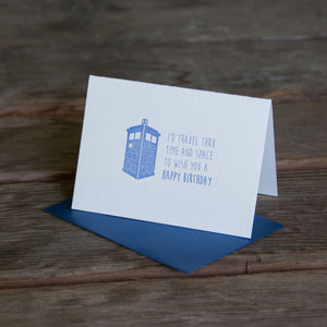 Doctor Who birthday card, letterpress printed eco friendly