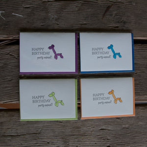 Balloon animal birthday cards, letterpress printed and hand water colored card