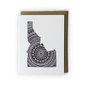 Black and White Idaho Mandala Card
