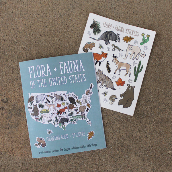 lost little things - Flora + Fauna Coloring and Sticker Book