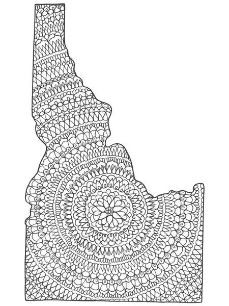 Idaho B&W Mandala Card