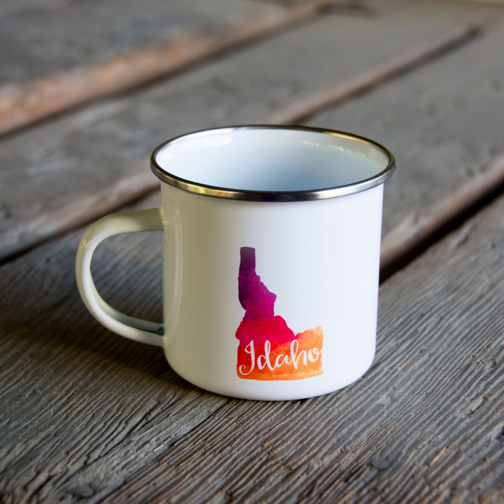 Idaho Watercolor Enamel Mug, water color and typography