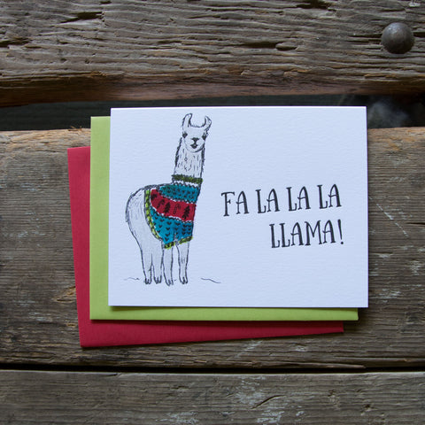 Fa la la Llama Card, letterpress printed hand drawn llama eco friendly