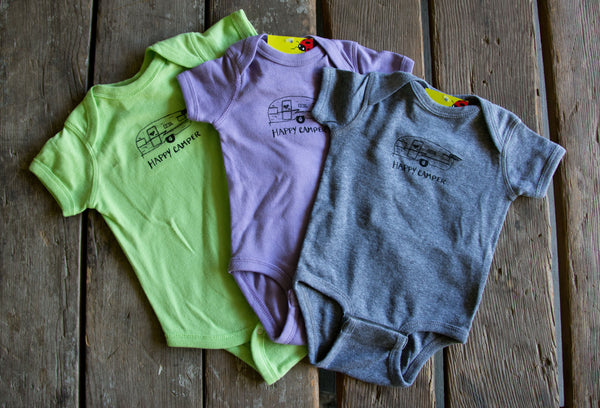 Happy camper onesie, eco-friendly waterbased inks