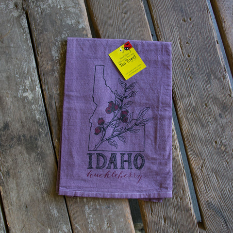 Dyed Idaho Huckleberry Screen Printed Tea Towel, flour sack towel