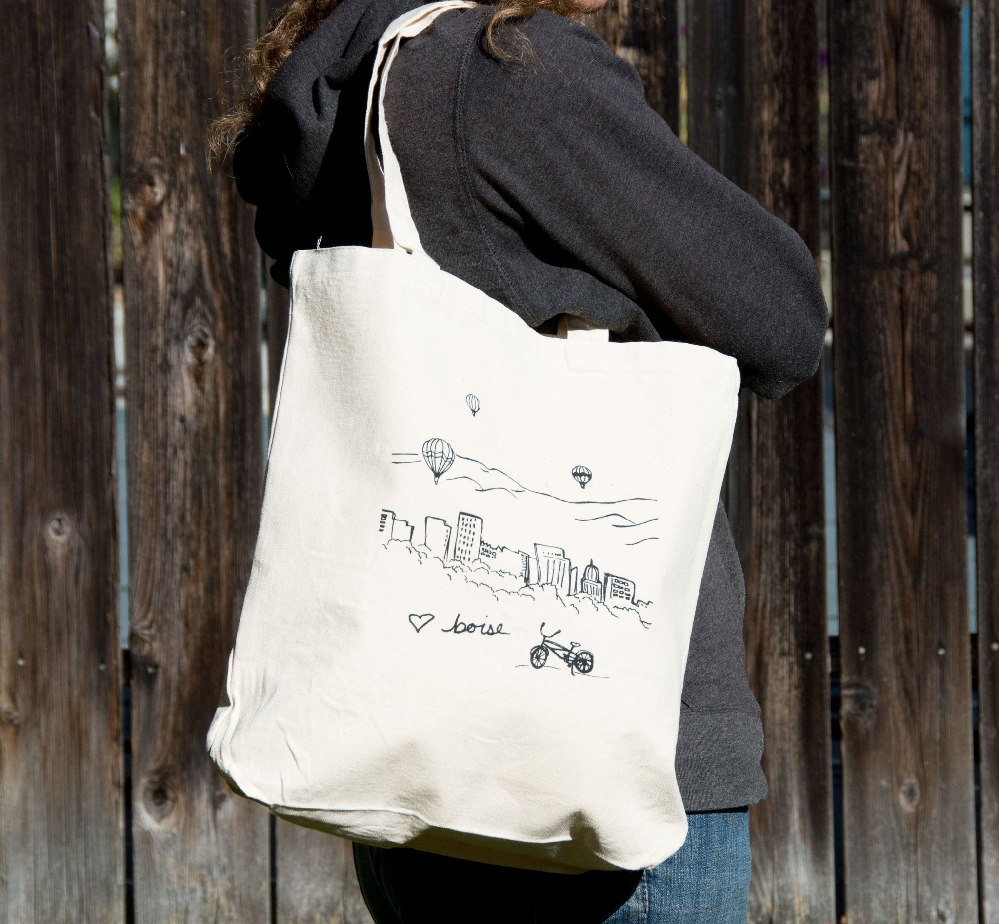Boise Balloon Screen Printed Tote Bag, Large heavy duty canvas bag