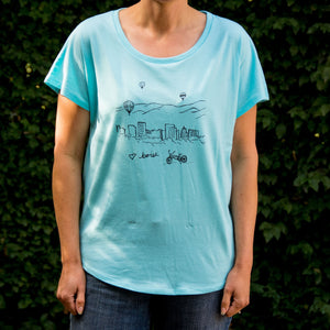 Women's Boise Balloon T-shirt, screen printed with eco-friendly waterbased inks, adult sizes, women
