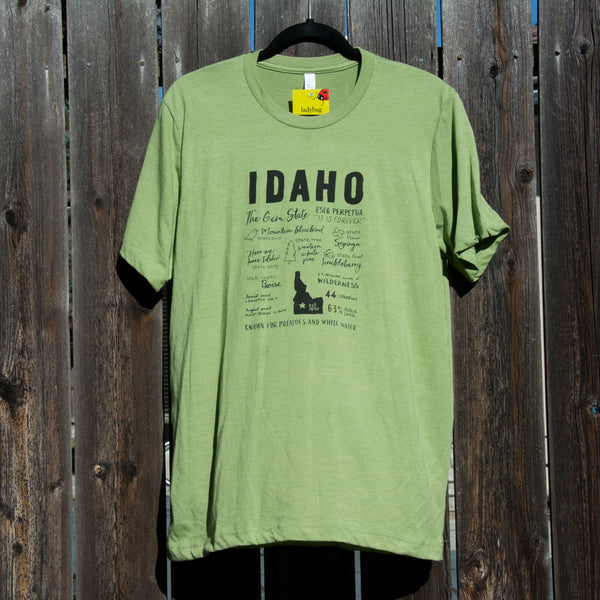 Idaho Facts T-shirt, screen printed with eco-friendly waterbased inks, adult sizes