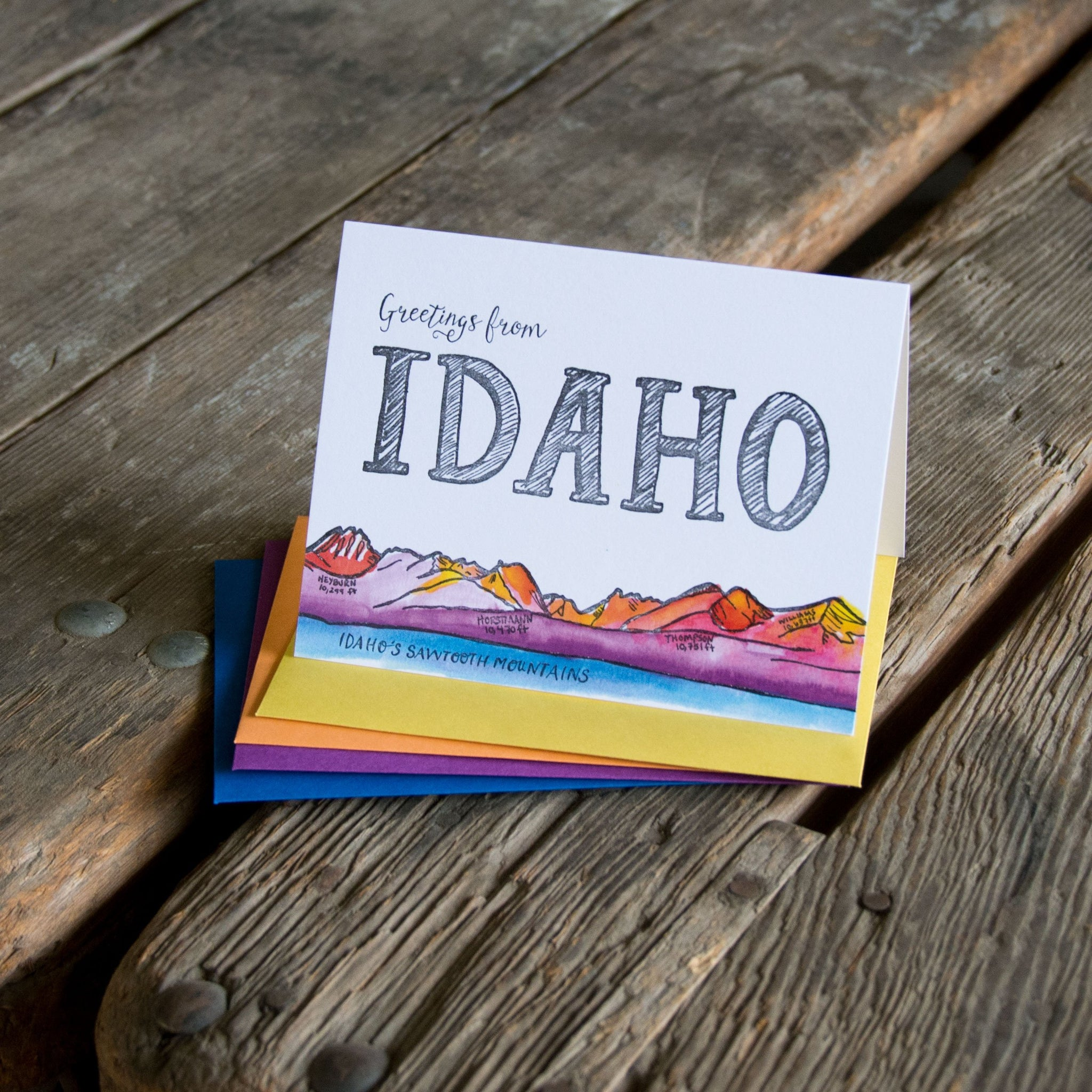 Greetings from Idaho, letterpress + watercolor card. Eco friendly