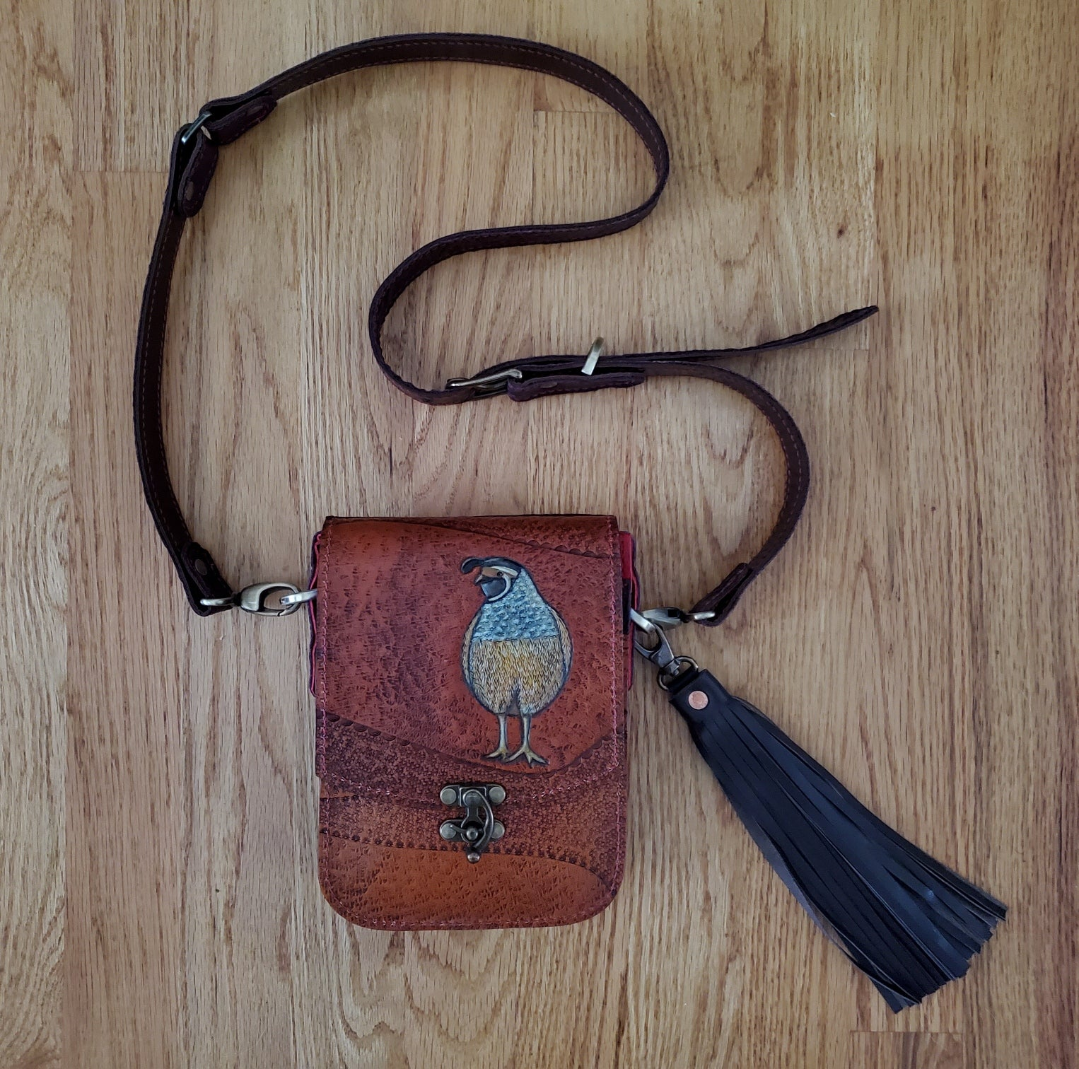 Hand Painted & Tooled Quail Purse