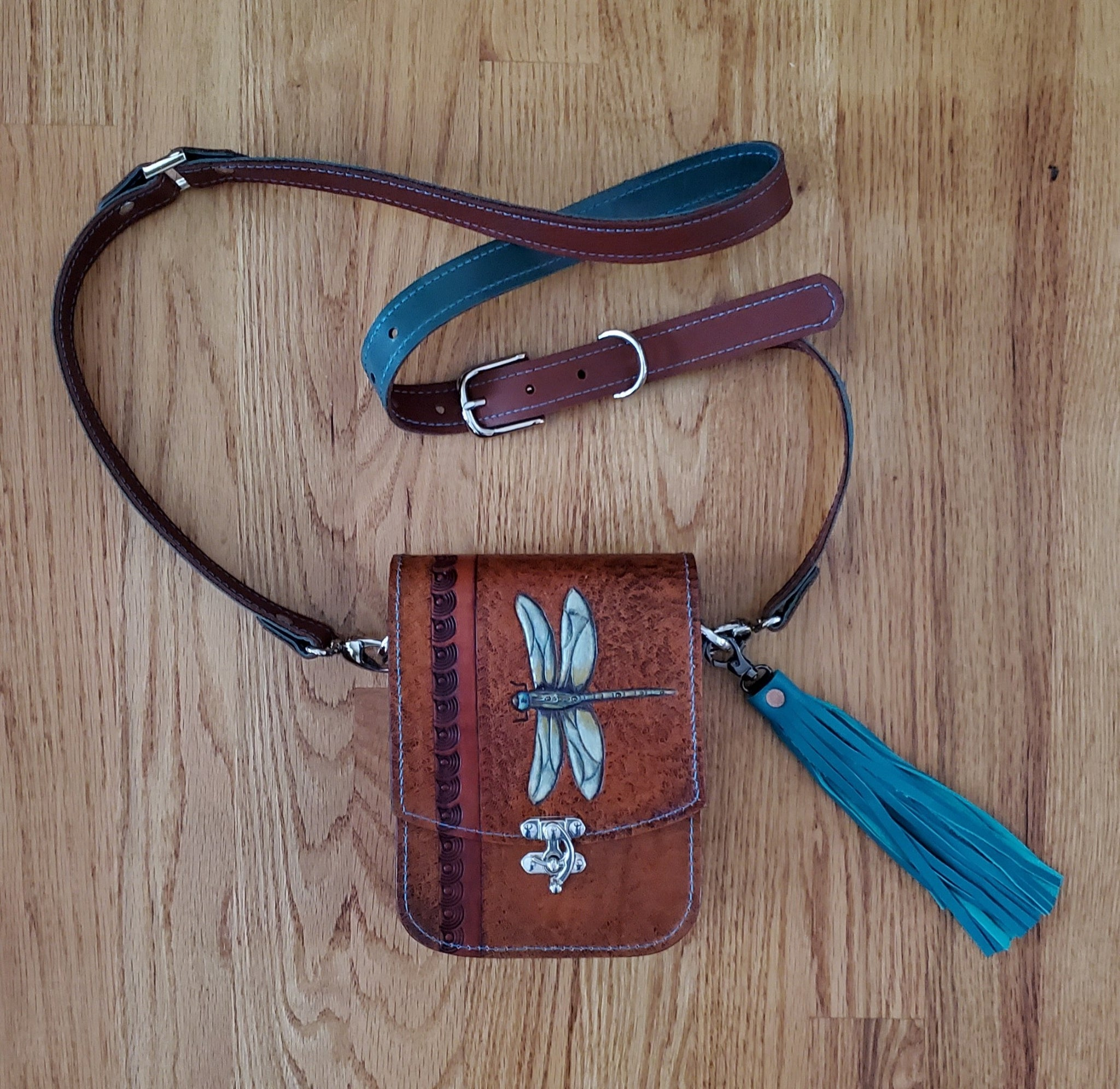 Hand Tooled & Painted Dragonfly Purse
