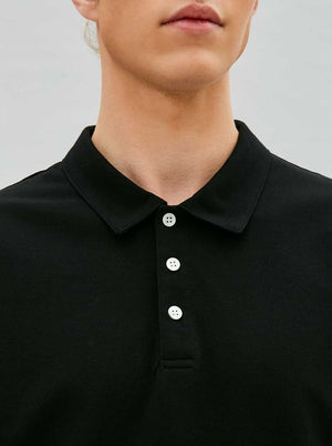 Load image into Gallery viewer, Organic Polo Tee in Black