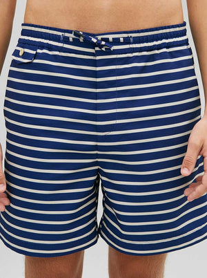 Load image into Gallery viewer, Drawstring Deck Shorts in Breton Stripe
