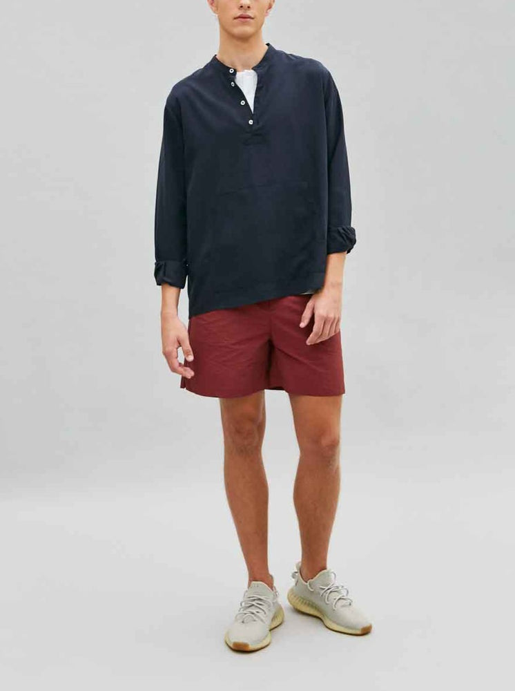 Load image into Gallery viewer, Tencel Anorak Shirt in Navy