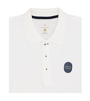 Load image into Gallery viewer, White Polo Tee Folded