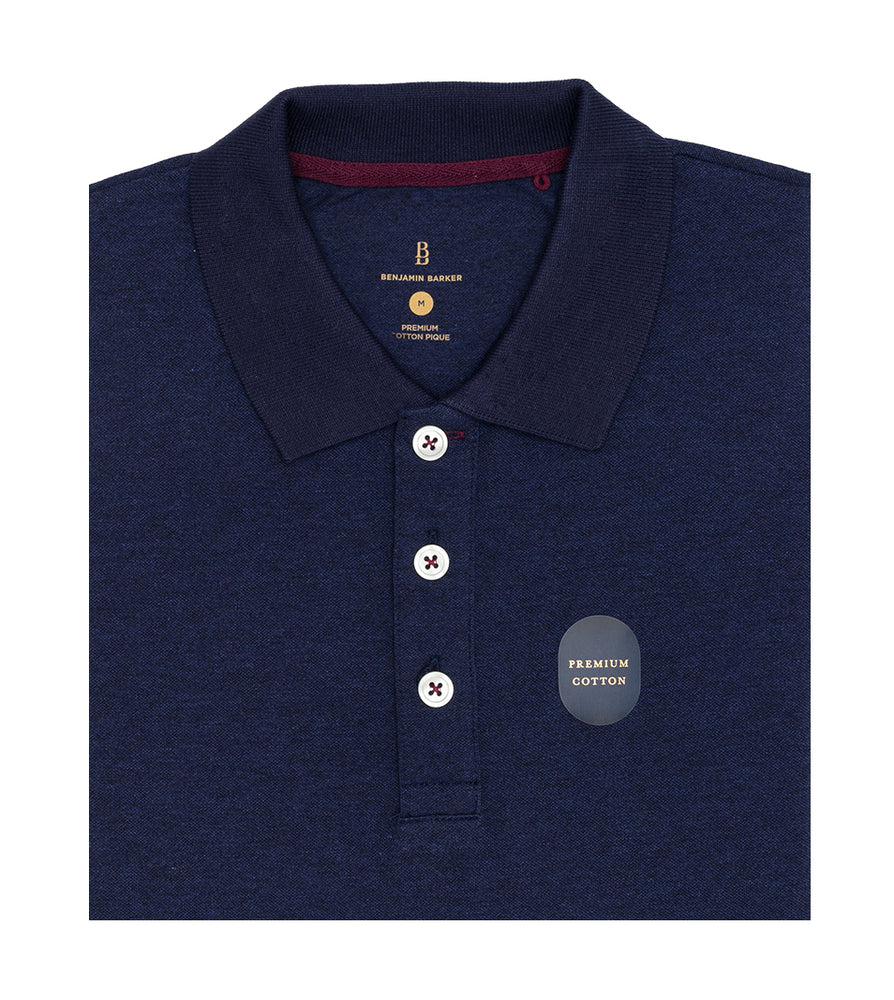 Navy Melange Polo Tee Folded
