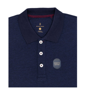 Load image into Gallery viewer, Navy Melange Polo Tee Folded