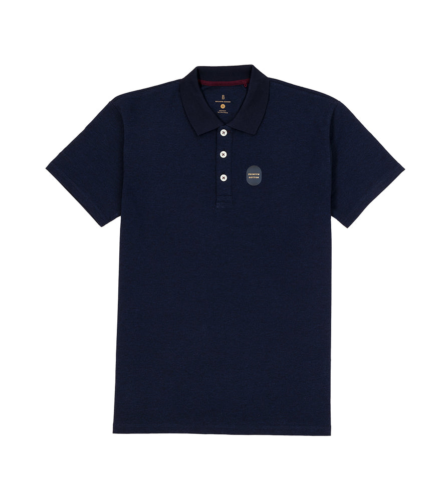 Navy Melange Polo Tee Full