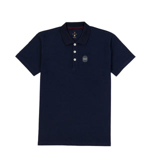 Load image into Gallery viewer, Navy Melange Polo Tee Full