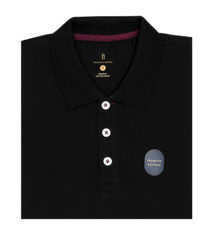 Load image into Gallery viewer, Black Polo Tee Folded