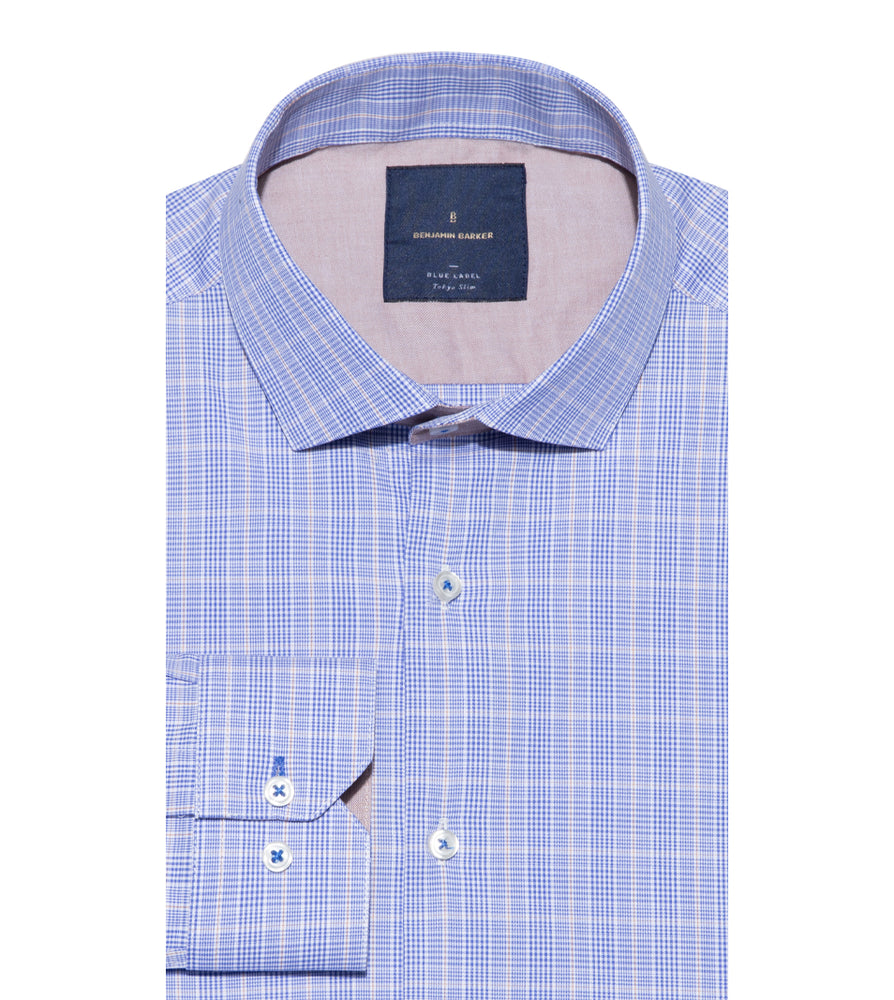 Motoji Easy Iron Glen Plaid Shirt Folded