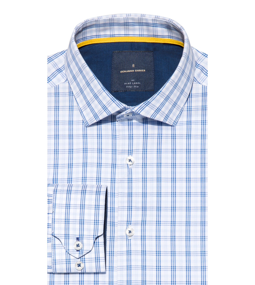 Tsumugi Easy Iron Check Shirt Folded