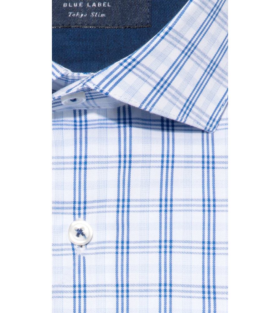 Tsumugi Easy Iron Check Shirt Collar