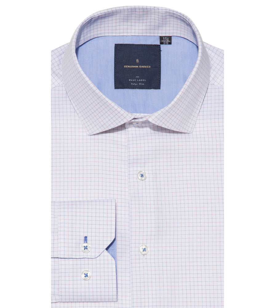 Ishi Easy Iron Graph Check Shirt Folded