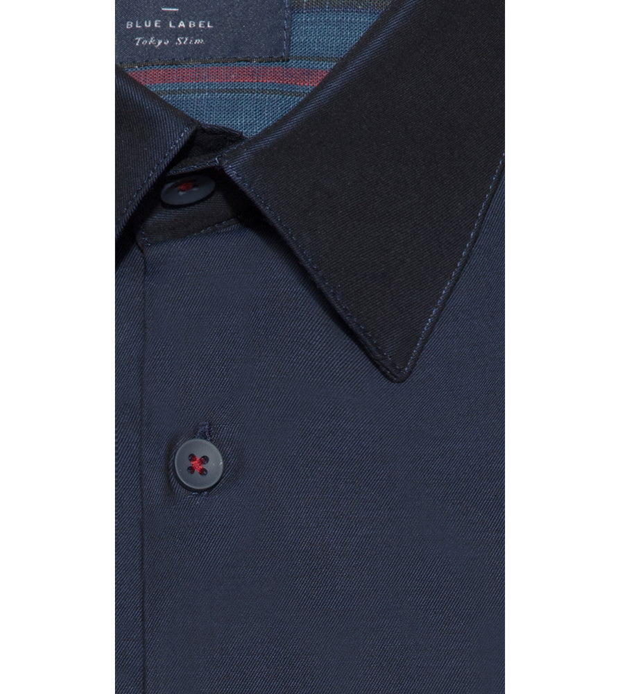 Yoshio Navy Easy Iron Shirt Collar