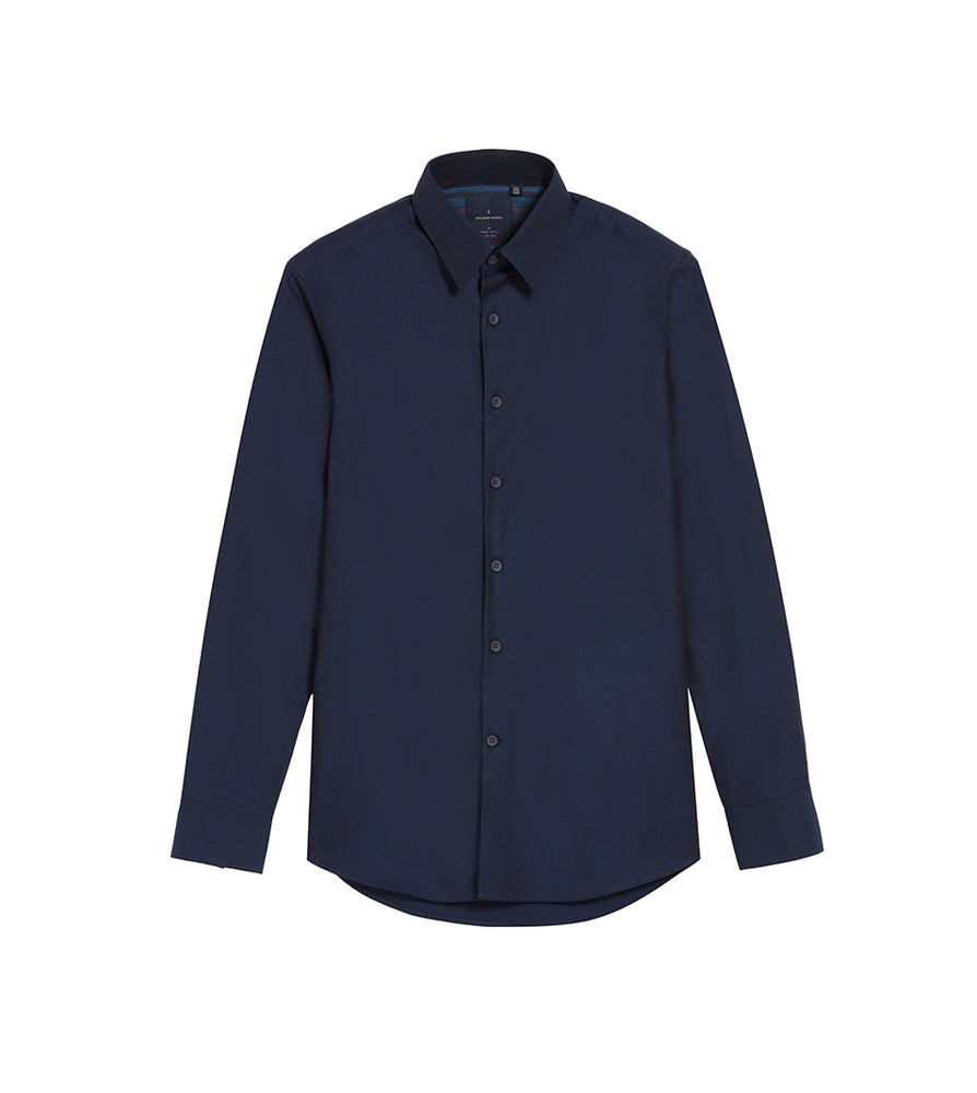 Load image into Gallery viewer, Yoshio Navy Easy Iron Shirt Full