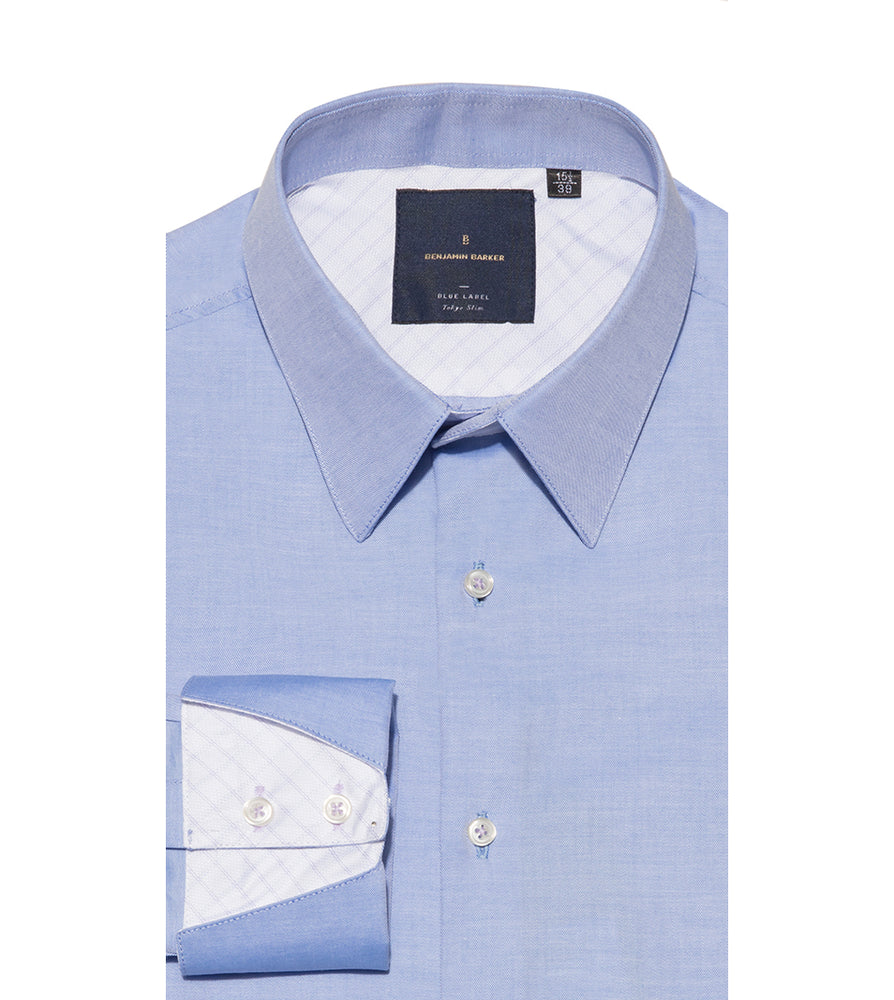 Hirano Skyblue Easy Iron Shirt Folded