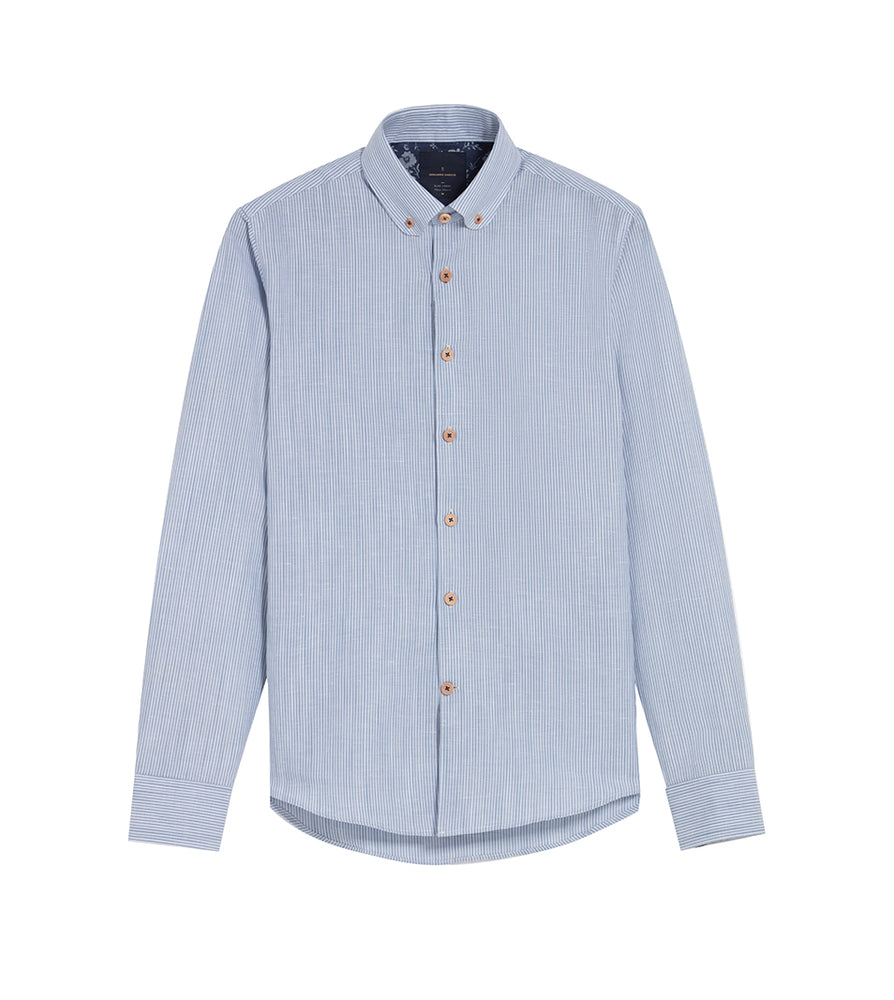 Load image into Gallery viewer, Koji Pencil Stripe Linen Shirt Full