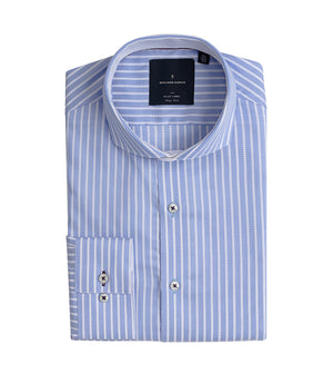 Load image into Gallery viewer, Amami Easy Iron Stripe Shirt Folded