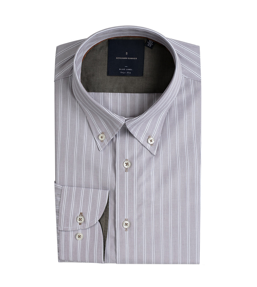 TSUMUGI EASY IRON PENCIL STRIPE SHIRT Folded