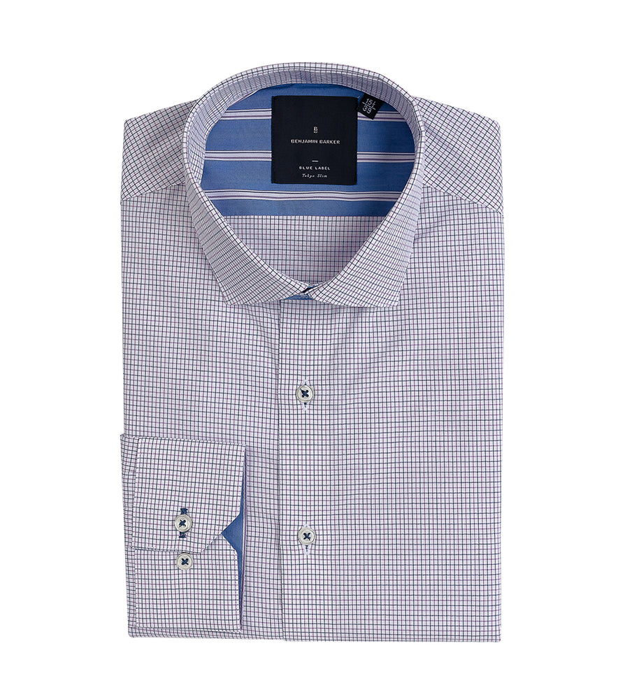 Fumiya Easy Iron Graph Check Shirt Folded
