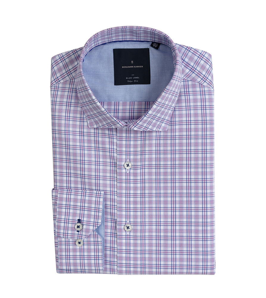 Ryosuke Easy Iron Plaid Shirt Folded