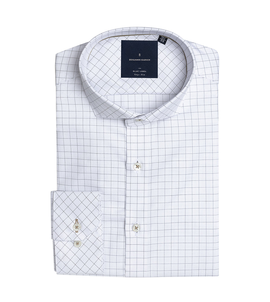 Nouchi Easy Iron Graph Check Shirt Folded