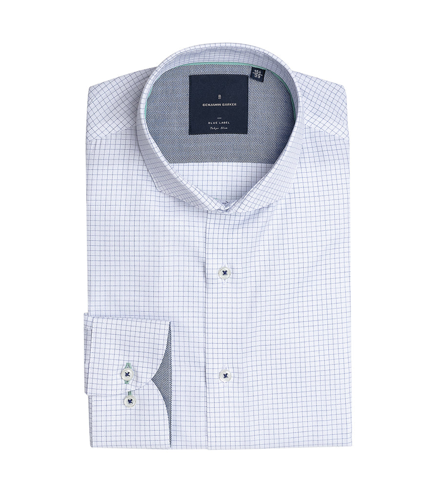 Load image into Gallery viewer, Sanzai Easy Iron Graph Check Shirt Folded